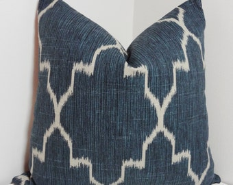 Navy Blue Ikat Geometric Morrocan Pillow Cover Decorative Throw Pillow 18x18