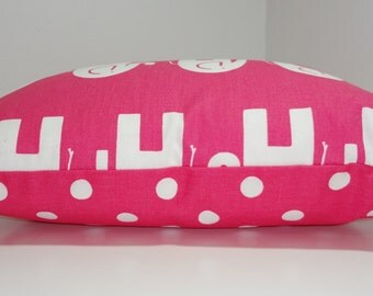 Decorative Pillow Cover Candy Pink & White Elephant Polka Dot Nursery Baby Girl Pillow Cover 18x18