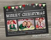 Chalk Christmas Card, Holiday Card - Chalkboard Christmas Card (Digital File) I Design, You Print