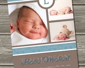 Baby Boy Birth Announcement (Digital File) Lucas - I Design, You Print
