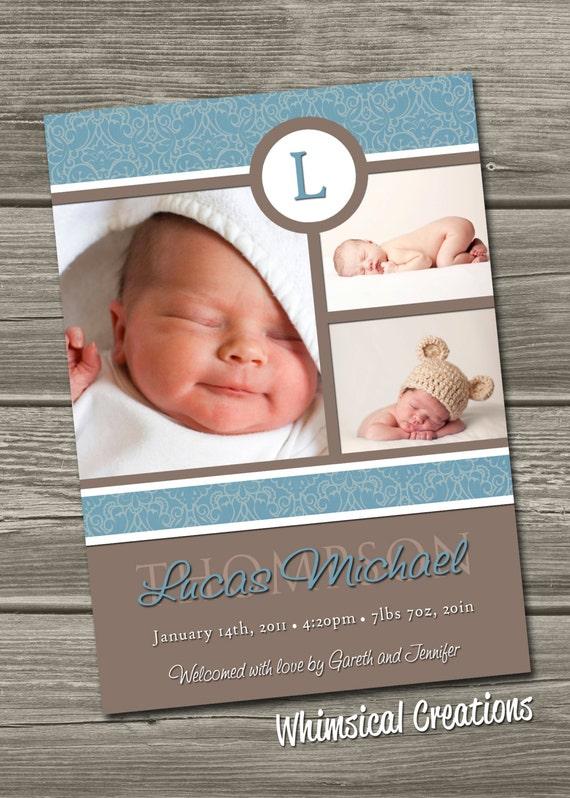 Baby Boy Birth Announcement (Digital File) Lucas - I Design, You Print