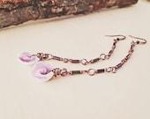 Long purple shell earrings - iridescent peacock tube beads and purple Cebu beauty flower shells - long purple earrings - beach jewelry