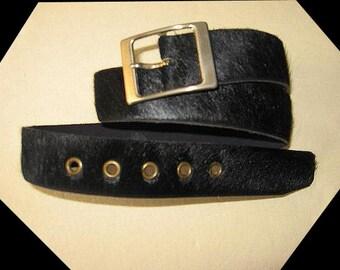 Vintage Hair Fur Black Leather Belt Size 34 Made in France – Coarse Unknown Hair Fur
