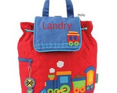 Custom Boy Backpack or Baby Diaper Bag Stephen Joseph Quilted Train