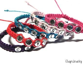 Name Bracelet, Personalized Bracelet, Macrame Bracelet, Flower Girl Bracelet, Knot Bracelet, Boys Bracelet, Kids Jewelry, Girls Bracelet