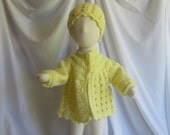 Baby Sweater and Hat Gift Set - 3 Months - In Pale Yellow