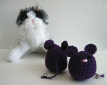 Crochet Cat Mouse Toy:  Premium Catnip (Set of 2) In Purple Eggplant