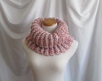 Cowl Chunky Bulky Crochet Cowl:  Pink, Dusty Rose & White