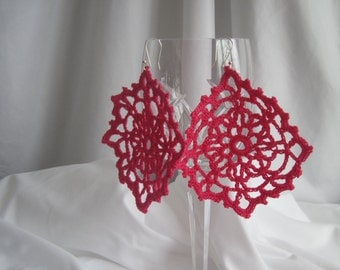 Lacy Crochet Earrings in Hot Pink with Silver Plated Ear Wire