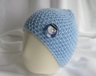 Baby Boy Skater Snowboard Skullie Skull Cap Winter Hat in Blue with Snowman Button - Newborn to 3 Months