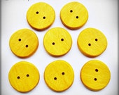 "Handmade Wood Buttons - 1 1/8"" Yellowheart Wood Buttons"