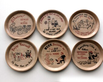 Cocktail Drinks Coasters - Vintage Novelty Barware - Politically Incorrect