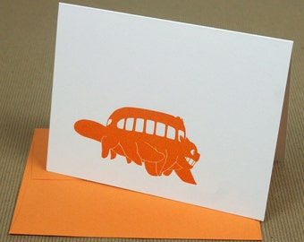 Totoro Catbus Letterpress Card
