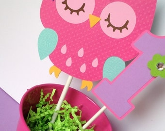 Owl Birthday Party Personalized Smash Cake Topper in Pink, Purple, Teal and Green - Owl First Birthday - Owl Party Decorations