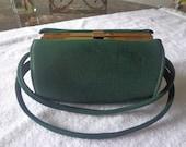1960's Green Cloth Barrel Shaped  Purse