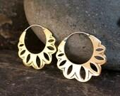 Shakti Flower Brass Earrings