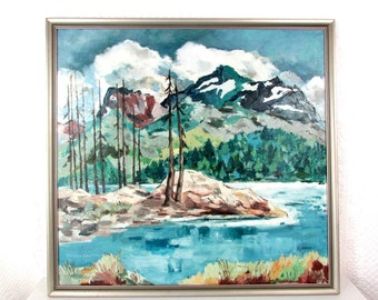 MCM Mountain Landscape Silver lake oil on linen  by  Virginia L. Fitch