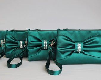 Big sale -Bridesmaid clutch ,wedding gift ,make up bag,zipper pouch ,  Bow wristlet clutch,Teal ,piece 9.90 USD
