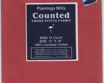"""AIDA 14-COUNT RED 12"""" X 18"""" Even-Weave Counted Cross-Stitch Fabric"""