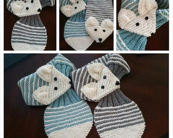 Stretch Kids /Toddler Adjustable Fox Stripe Scarf Hand Knit scarf / Neck warmer Teal or Gray