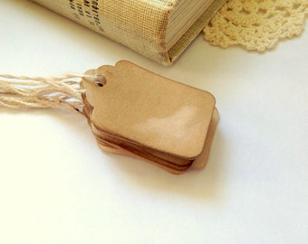 50 XS Tags with STRINGS. Anthropologie Vintage Wedding Favor Tags. Price Tags. Boho. Gift Tags. Rustic Country Antique. Jewelry Tag. Label.