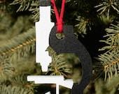 Microscope Wood Ornament, Christmas, Science, Scroll Work, Science, Biology, Handmade in Ohio, Lab