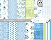 Owl Digital Scrapbook Paper  -  Leona Girl Blue&Lime  -- 12x12  -  INSTANT DOWNLOAD