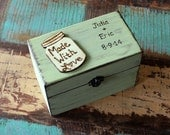 Rustic Recipe Box Painted and Distressed in the COLOR of YOUR CHOICE Personalized and Heart or Mason Jar