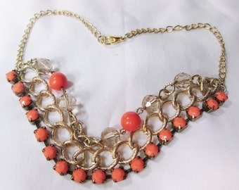 Necklace Coral and Gold Short Necklace, Choker, Prom Jewelry, Bridal  Jewelry, Coral Jewelry, Jewerly for Brides Maids by CindyDidit