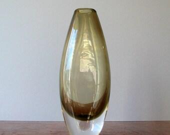 Mid Century Amber / Brown Glass Vase Attr Johansfors / Bengt Orup