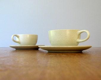 Pair of Vintage Heath Ceramics Cups / Saucers in Antique White