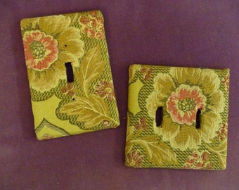 TWO Light Switch Plate Covers Green Floral