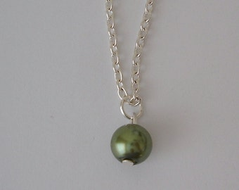 SAMPLE SALE: Pearl Drop Necklace, Green Color Pearl Drop Necklace, Pearl Necklace