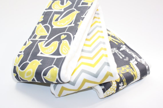 Baby Burp Cloths- Set of 3 - Love Birds in Citron, Chevron, and Giraffe Love