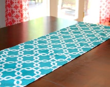 Table Runner- Premier Prints Turquoise Gotcha Chainlink Home Decor- All Sizes- Weddings, Holidays, Events- Dinner Party- Table Topper