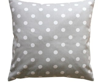 Accent Pillows- Premier Prints Storm Grey Polka Dot Pillow Cover- Choose Your Size- Hidden Zipper Closure- Decorative Throw Pillow