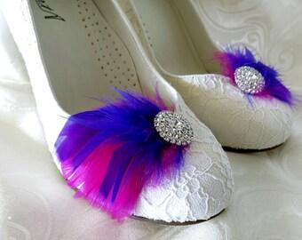 Bridal Bridesmaid Feathered Feather Shoe Clips Rhinestone Accents Purple Magenta Fuschia  Set of 2