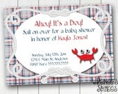 CRAB or Lobster  INVITATION - for Birthday Party or Shower - Printable Nautical DIY Invite - Customizable