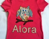 Custom Order for Jenny Girl's Owl T-Shirt Personalized with Child's Name Can Be Customized for a Boy or Girl