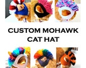 Custom Mohawk Cat Hat - Choose Your Colors - Hand Knit Cat Costume