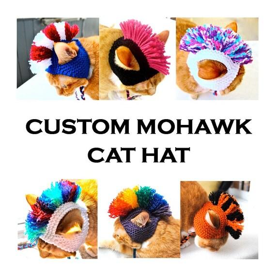 Custom Mohawk Cat Hat - Choose Your Colors - Hand Knit Cat Costume