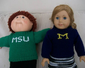 37) Knit Pullover Logo Sweaters   College Logo  School Logo  Michigan State  Michigan  ANY 15 or 18 Inch Dolls  AG or CP Dolls