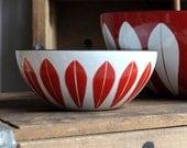 "SALE 25% OFF! RARE Cathrineholm Lotus Bowl - True Red - 5 1/2"""