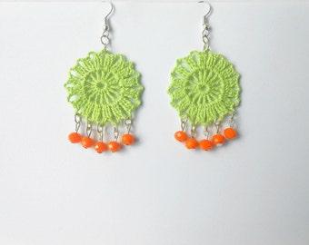 Lime green crochet earrings whit orange pearls - hand crochet lime green earrings  -unique accessory for her