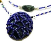 Blue Amazon Necklace. stone and beads. dark blue and green.