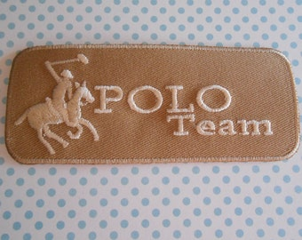 Iron on Embroidered Beige Patch