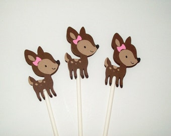 12 Fawn Cupcake Toppers/ Girl Birthday/ Baby Shower/ Party