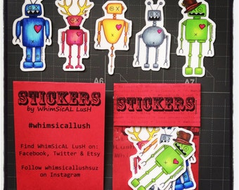 WhimBots Sticker Pack: Robot Vinyl Art Stickers