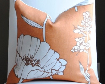 Designer Pillow Cover-18x18 -Designer Fabric- Poppyfield-Throw-Accent Pillow- Orange-Brown-White