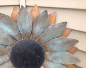 Sunflower - 2 feet wide, Rusty Sunflower, Metal Flowers, Sculptured Metal Sunflower, Sunflower Wall Hanging, Painted Flower